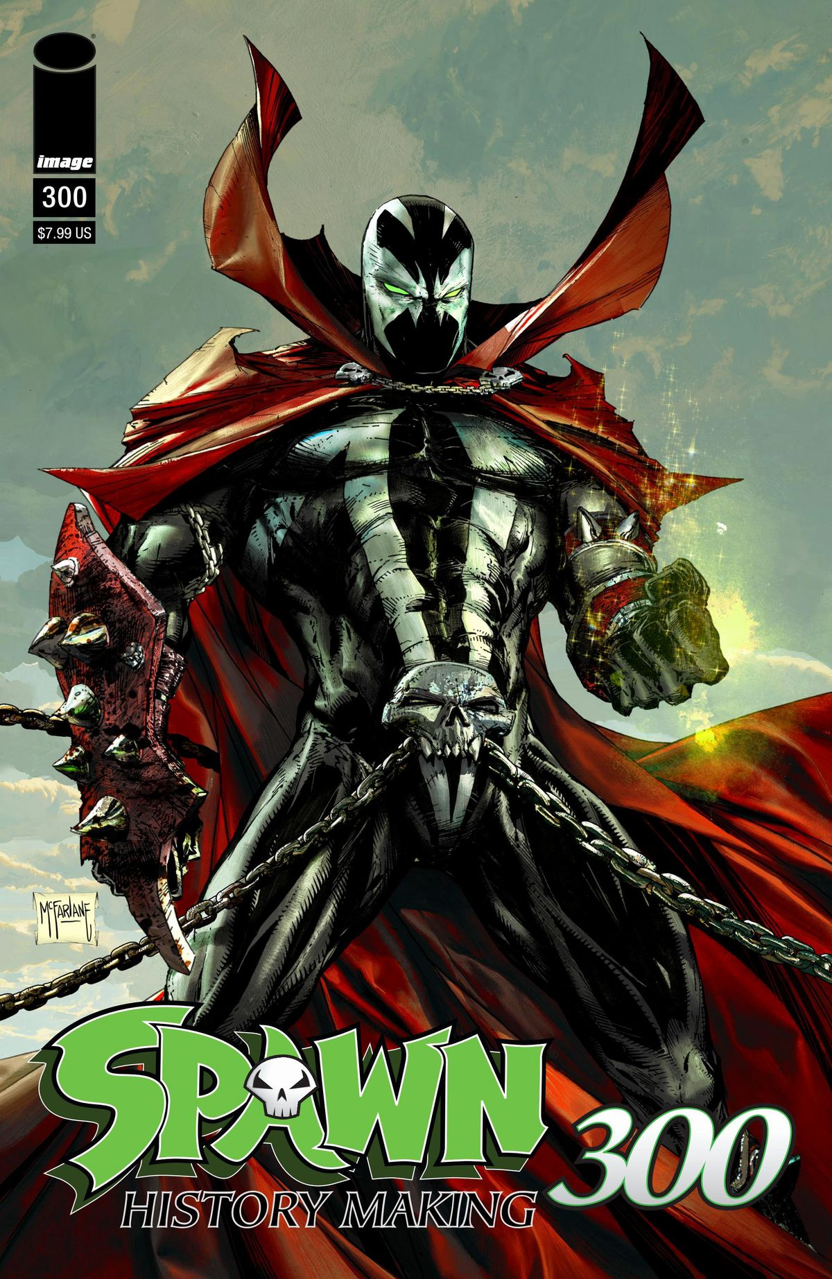 The anti hero Spawn, in his chain skull belt and voluminous red cloak on the cover of Spawn #300, Image Comics (2019).