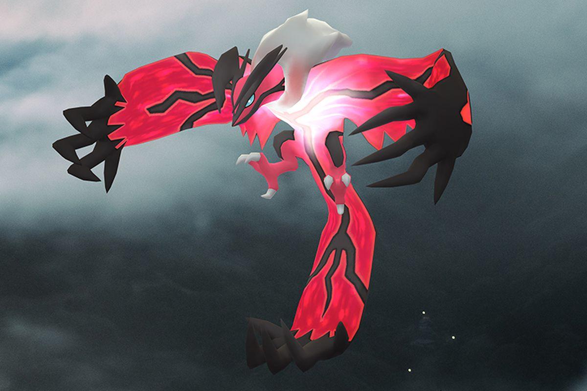 Yveltal flies in a darkened sky