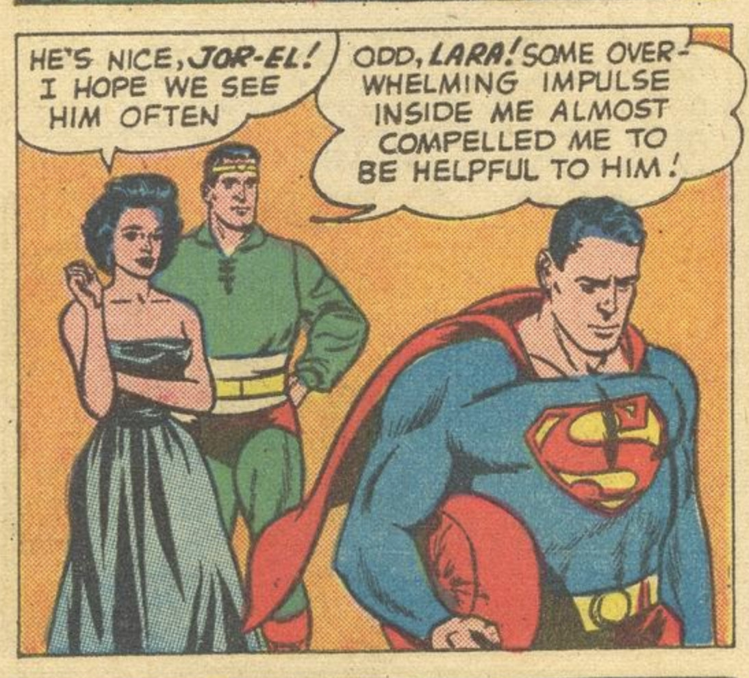 """""""Some overwhelming impulse inside me almost compelled me to be helpful to him!"""" exclaims Jor-El of his time-displaced son, Superman, in Superman #141 DC Comics (1960)."""