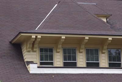 Multiple windows on a dormer.