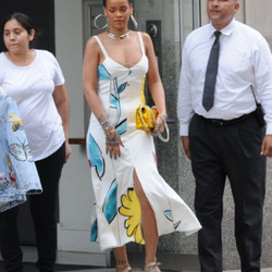 May 31st: Rihanna wears a floral Adam Selman sundress and Stella McCartney shoes in NYC.