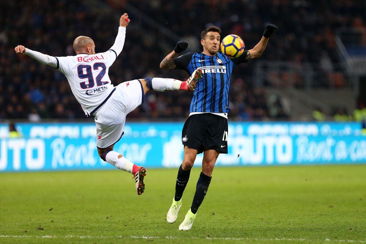 Matias Vecino of FC Internazionale and Ahmad Benali of Fc...