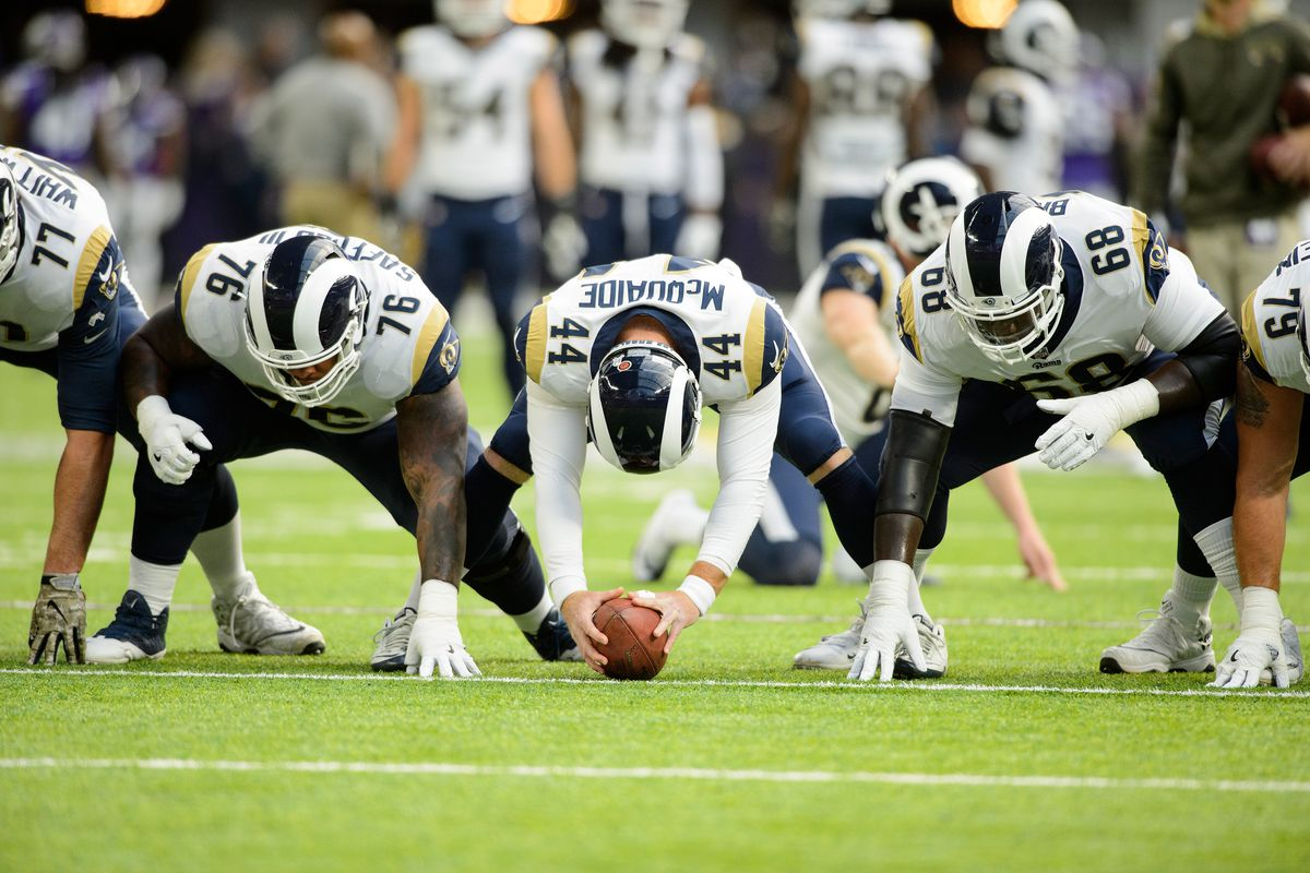 Los Angeles Rams LS Jake McQuaide prepares to snap a ball in warmups prior to playing the Minnesota Vikings in Week 11, 2017