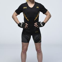 Valentina Shevchenko poses for a portrait during a UFC photo session on April 21, 2021 in Jacksonville, Florida.