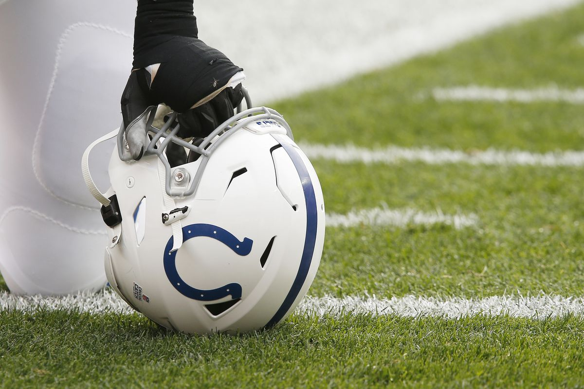 A Indianapolis Colts helmet sits on the turf prior to a NFL game between the Indianapolis Colts and the Cleveland Browns on October11, 2020 at FirstEnergy Stadium in Cleveland, OH.