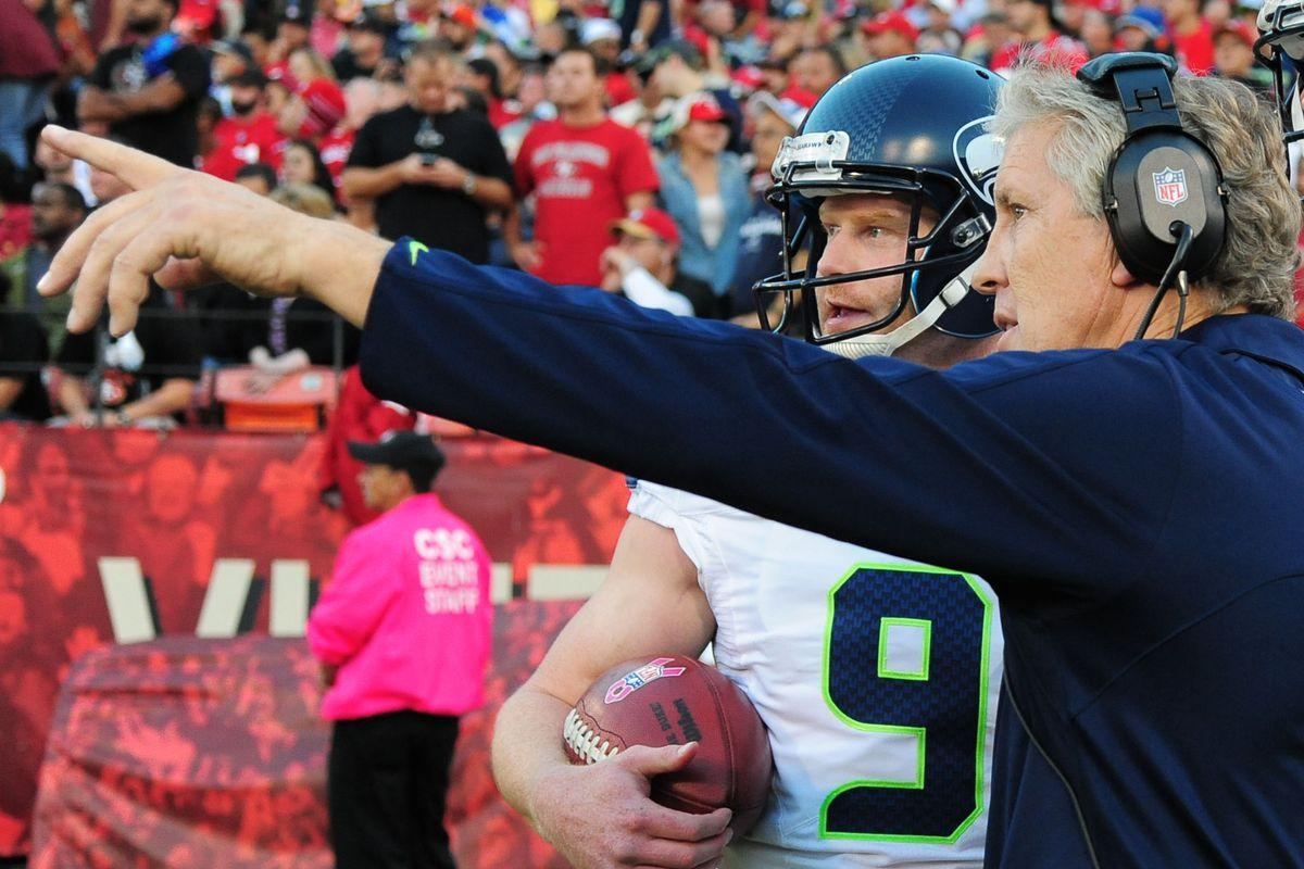 Seahawks punter Jon Ryan with coach Pete Carroll