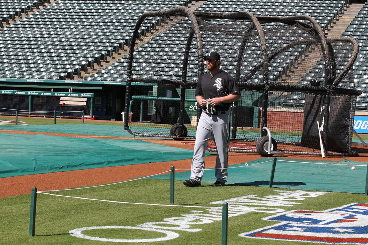 Apr 5, 2012; Arlington, TX, USA; Chicago White Sox first baseman Adam Dunn (32) during a workout at Rangers Ballpark. The White Sox will open the season against the Rangers on Friday, April 6th. Mandatory Credit: Matthew Emmons-US PRESSWIRE