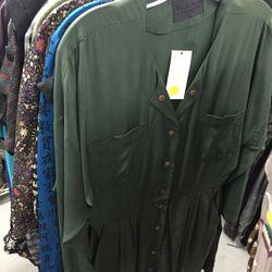 Green buttondown dress, $85