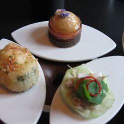 One bites including the crab, pork belly and foie gras