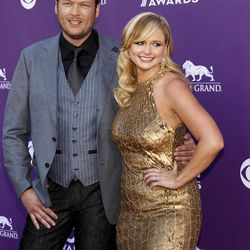 Blake Shelton, left, and Miranda Lambert arrive at the 47th Annual Academy of Country Music Awards on Sunday, April 1, 2012 in Las Vegas.