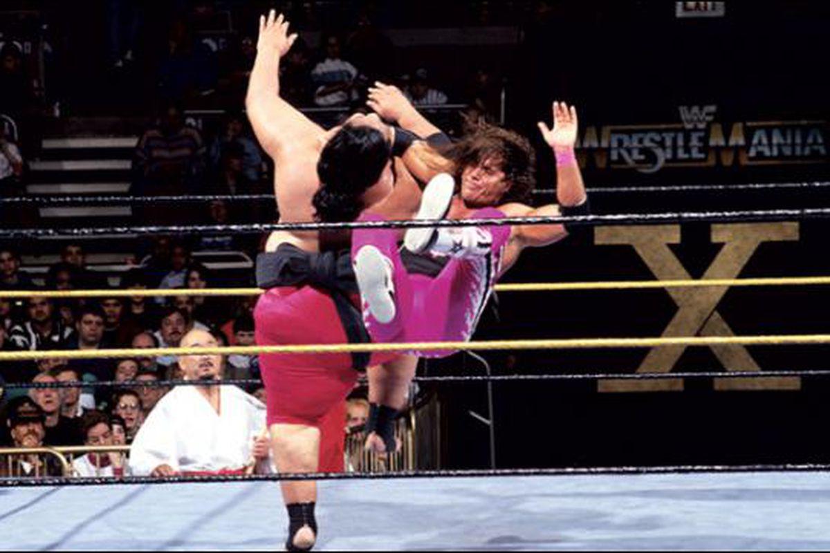 Image result for yokozuna vs bret wrestlemania 10
