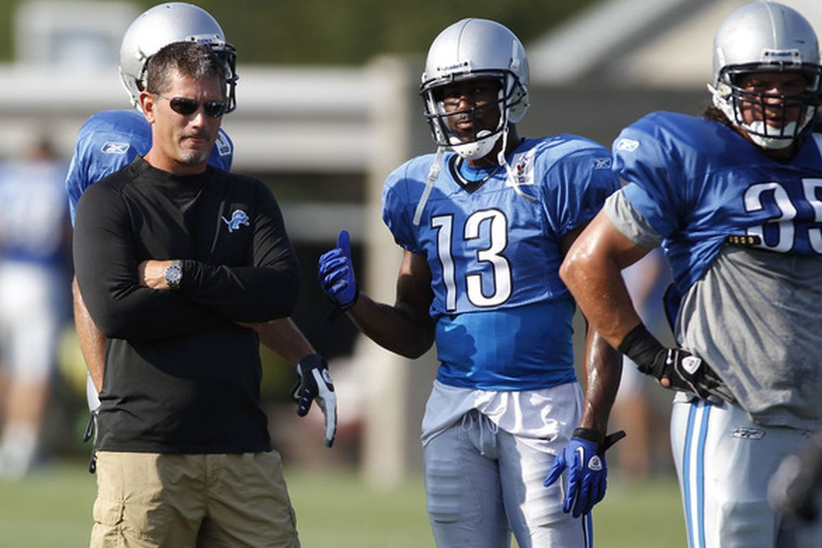 ALLEN PARK MI - AUGUST 05:  Head coach Jim Schwartz looks on during training camp at the Detroit Lions Headquarters and Training Facility on August 5 2010 in Allen Park Michigan.  (Photo by Gregory Shamus/Getty Images)