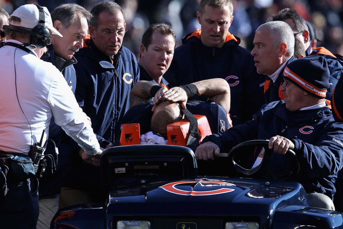 CHICAGO, IL - DECEMBER 18: Johnny Knox #13 of the Chicago Bears is carted off the field after suffering an injury against the Seattle Seahawks at Soldier Field on December18, 2011 in Chicago, Illinois. (Photo by Jonathan Daniel/Getty Images)