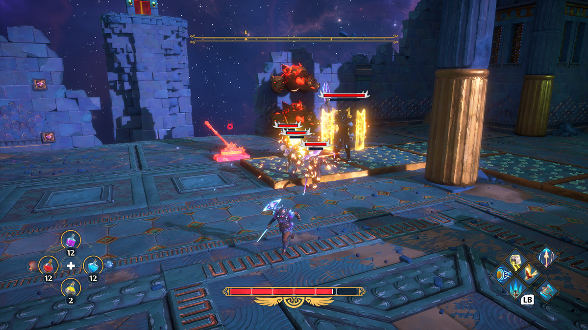 The hero from Immortals Fenyx Rising fights several enemies