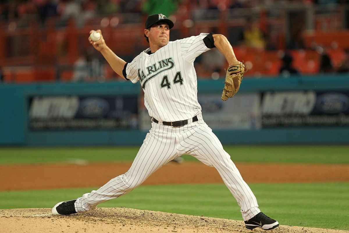 MIAMI GARDENS, FL - MAY 19:  Brian Sanches #44 of the Florida Marlins pitches during a game against the Chicago Cubs at Sun Life Stadium on May 19, 2011 in Miami Gardens, Florida.  (Photo by Mike Ehrmann/Getty Images)