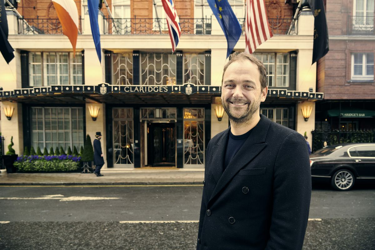 Eleven Madison Park New York City chef Daniel Humm outside the Claridge's hotel where he'll open Davies and Brook in London this autumn