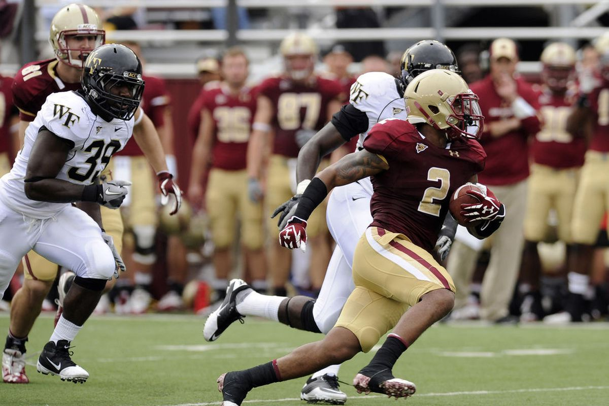 October 1, 2011; Boston, MA, USA; Boston College Eagles running back Montel Harris (2) rushes with the ball during the fourth quarter against the Wake Forest Demon Deacons at Alumni Stadium. Bob DeChiara-US PRESSWIRE