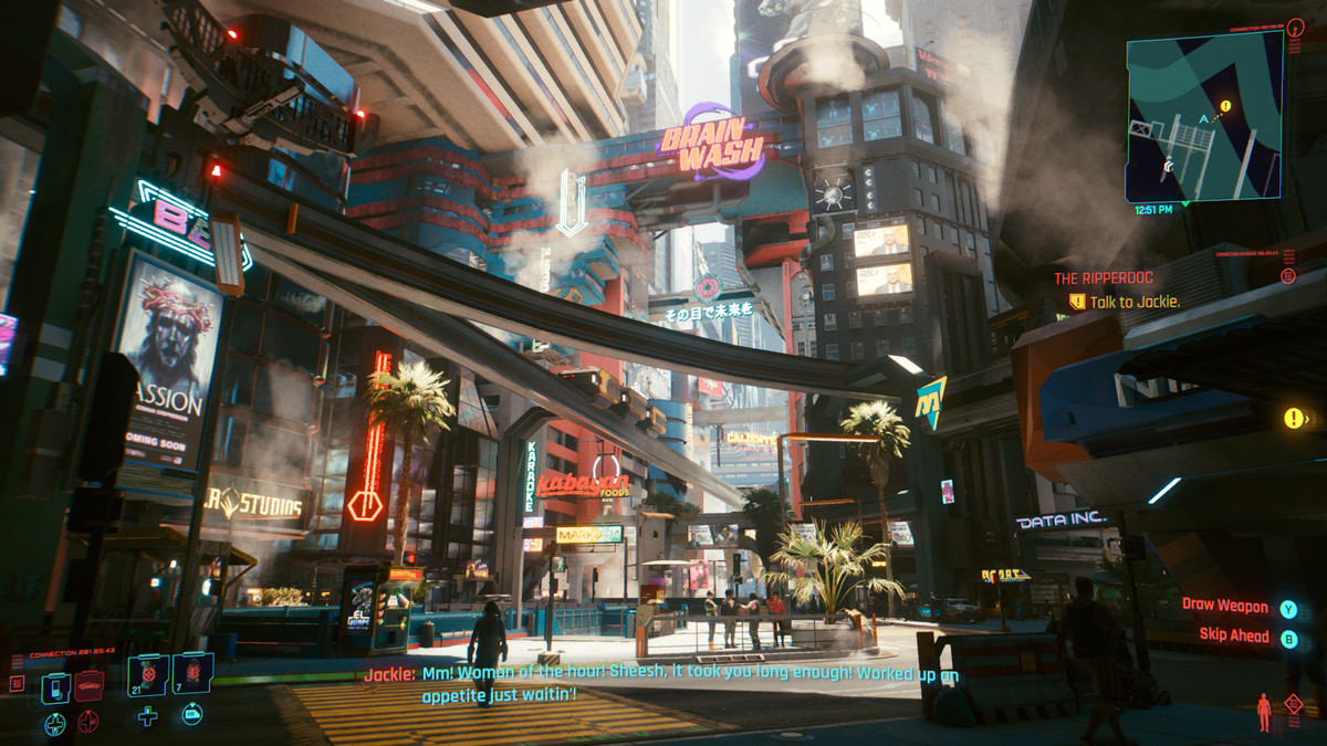 The neon streets of Night City in Cyberpunk 2077