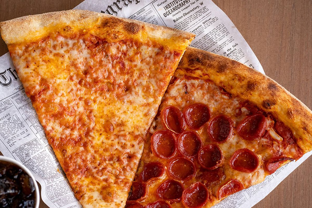 A pepperoni and regular slice from Side Piece pizzeria, coming soon to the Red Rock Resort.