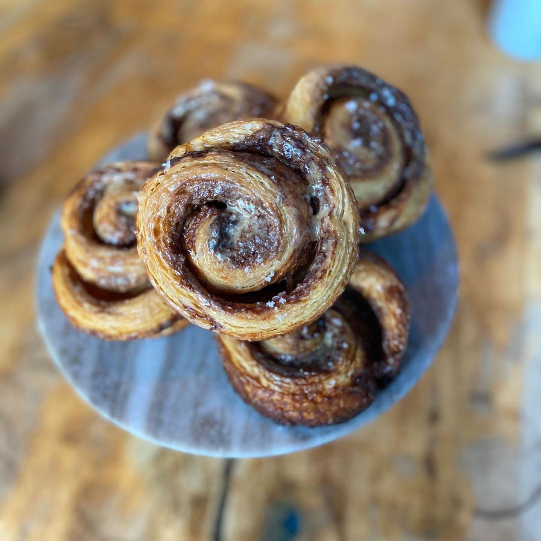 Overhead view of a pile of cinnamon buns
