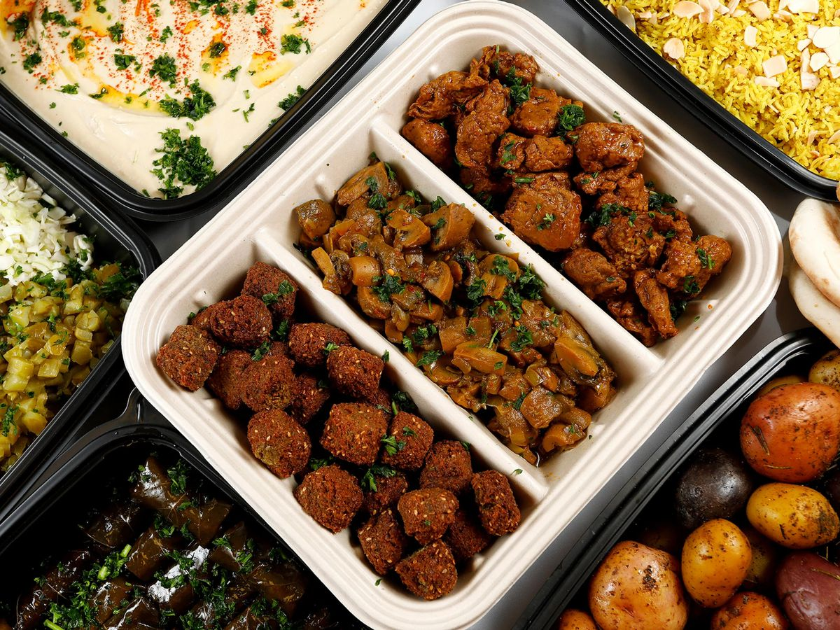 A table of food from The Flying Falafel