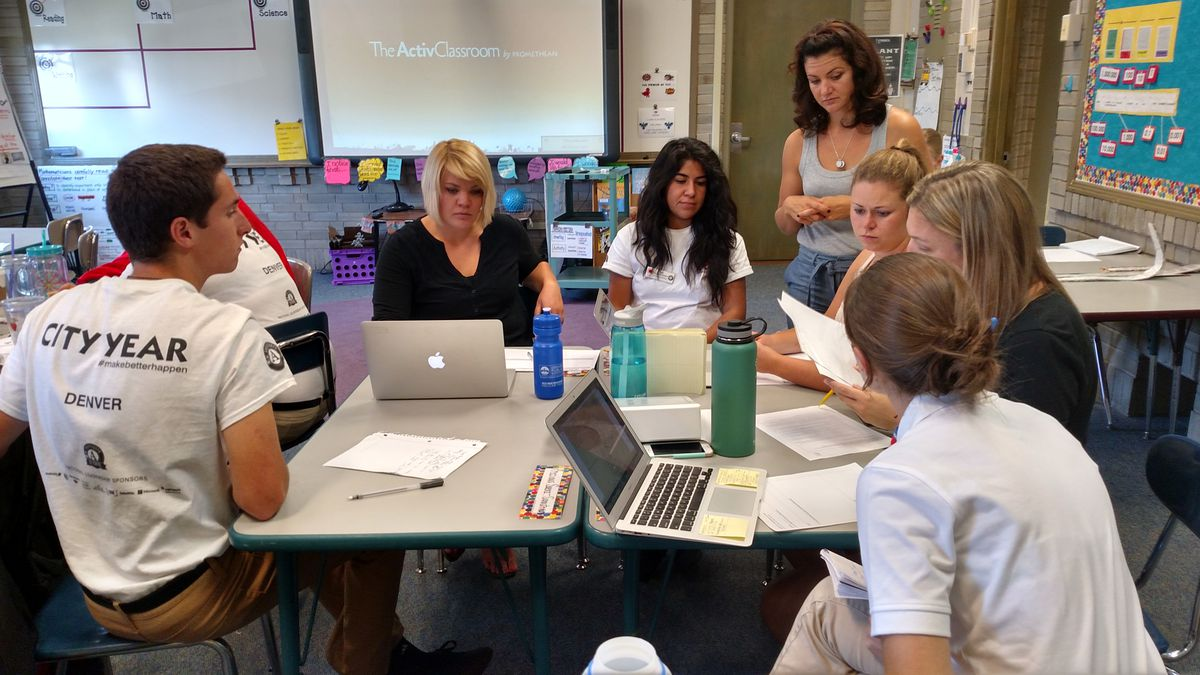 """For two weeks before school began, educators at the school attended training dubbed """"Trevista University"""" (photo by Eric Gorski)."""