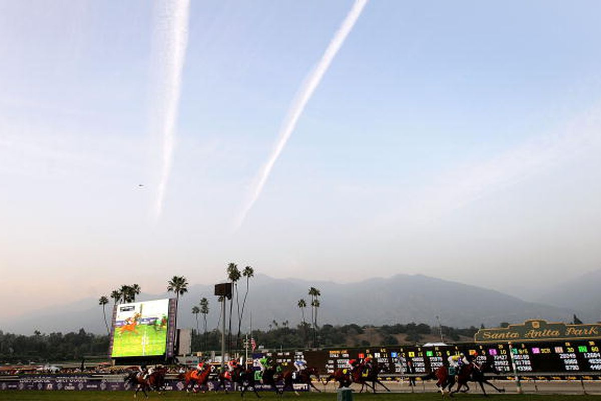 ARCADIA, CA - NOVEMBER 07: A general view of the last race during the Breeders' Cup World Championships at Santa Anita Park November 7, 2009 in Arcadia, California. (Photo by Harry How/Getty Images)