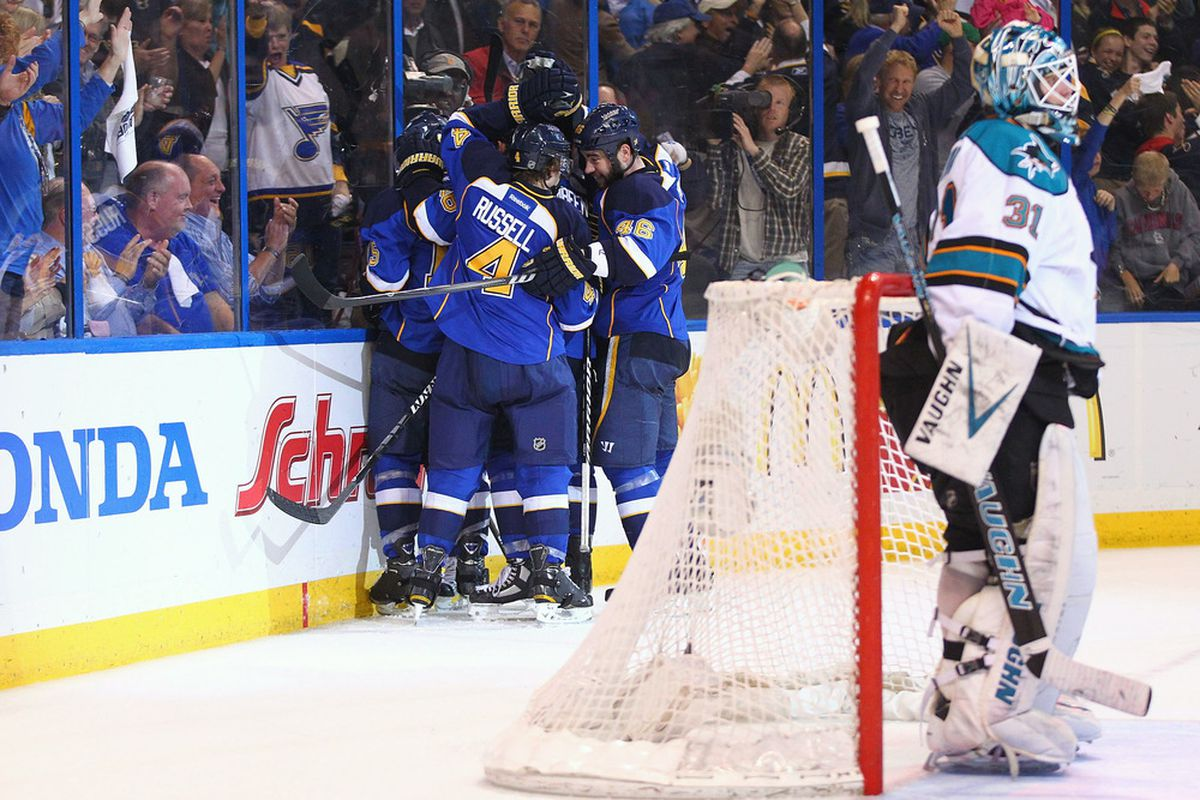 I know Kris Russell is no longer with us, but this photo should remind people that it is possible to score on the Sharks.