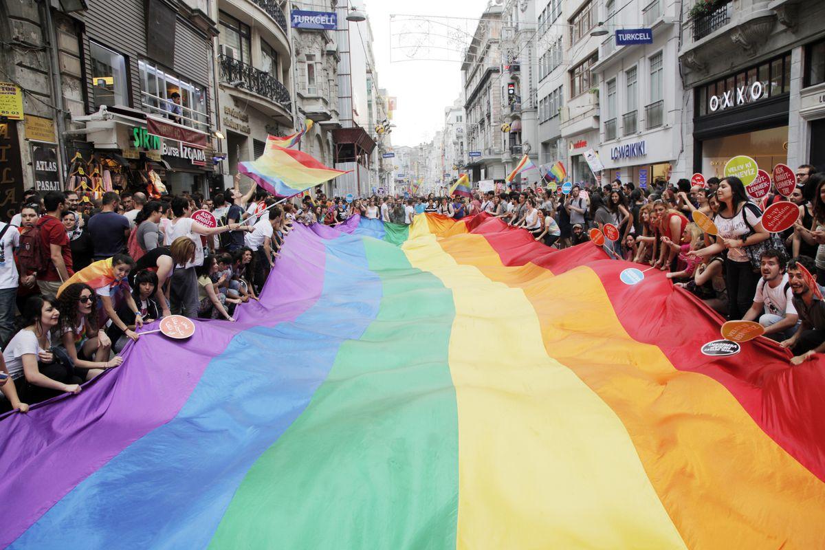 A gay pride celebration in Turkey.