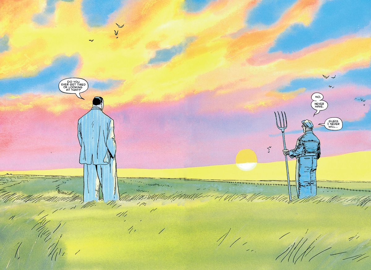 """Clark and Pa Kent look out at the sunset over the Kent Farm fields in Kansas. """"Do you ever get tired of looking at that?"""" Clark asks. """"No. Never have. Guess I never will,"""" his father replies, in Superman For All Seasons, DC Comics (1998)."""