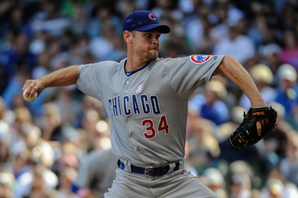 Milwaukee, WI, USA; Chicago Cubs pitcher Kerry Wood pitches against the Milwaukee Brewers at Miller Park. Credit: Benny Sieu-US PRESSWIRE