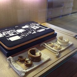 A.P.C. + Incase raw denim/lambskin laptop case, $62.50 (originally $125); jewelry, $27 to $31.50 (originally $90 to $105)