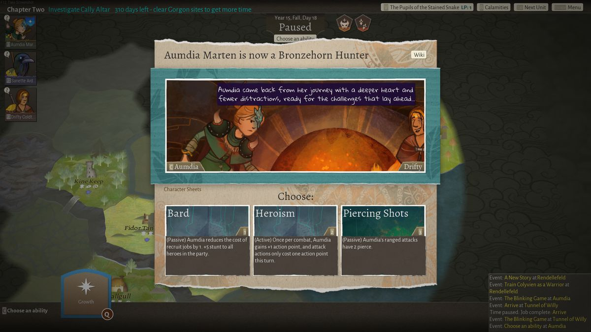 Aumdia Marten is now a Bronzehorn Hunter, says the prompt, allowing the player to choose a bard subclass, a heroism perk, or a new combat skill.