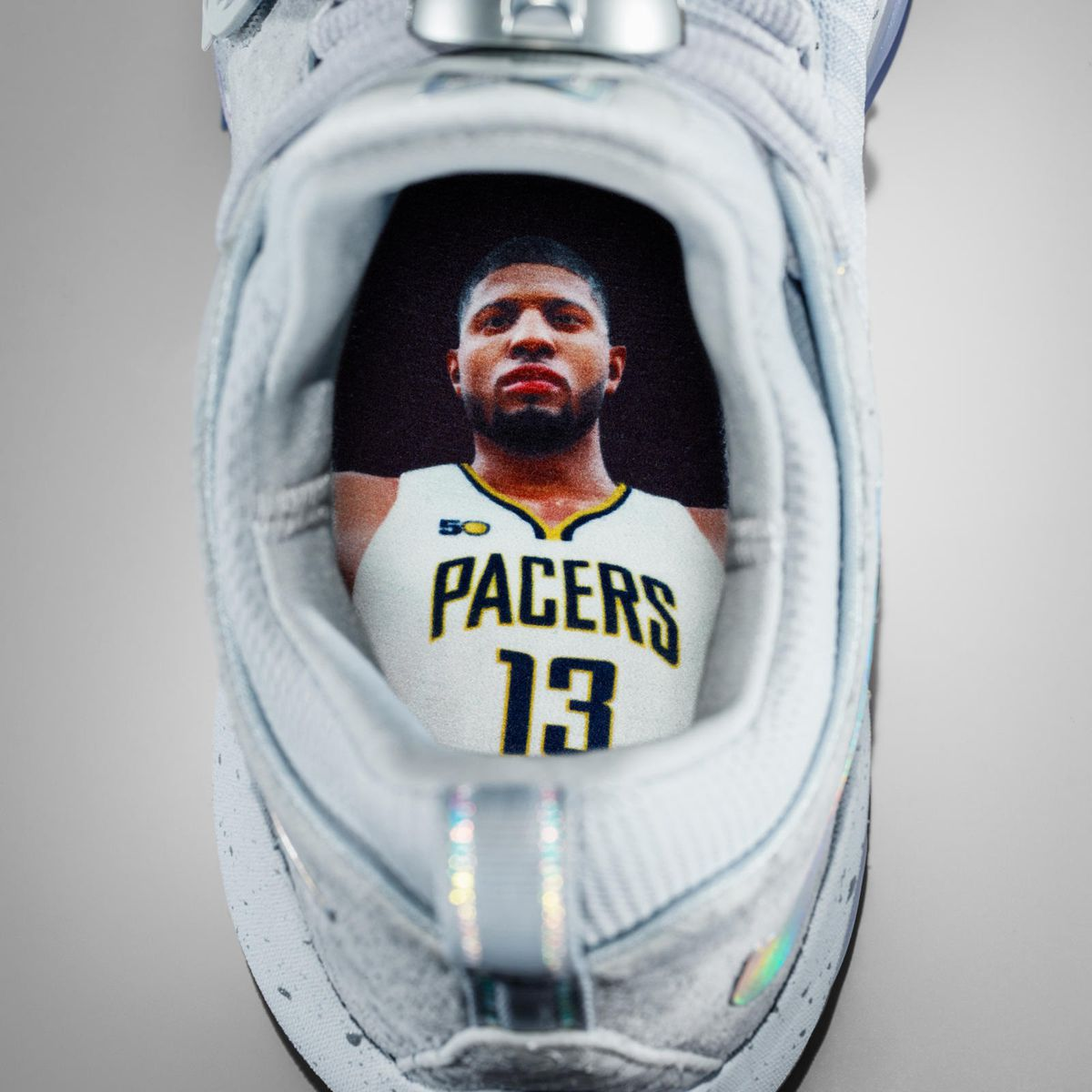 1434b257c7bddc Paul George now has a Nike signature shoe with his face in it ...