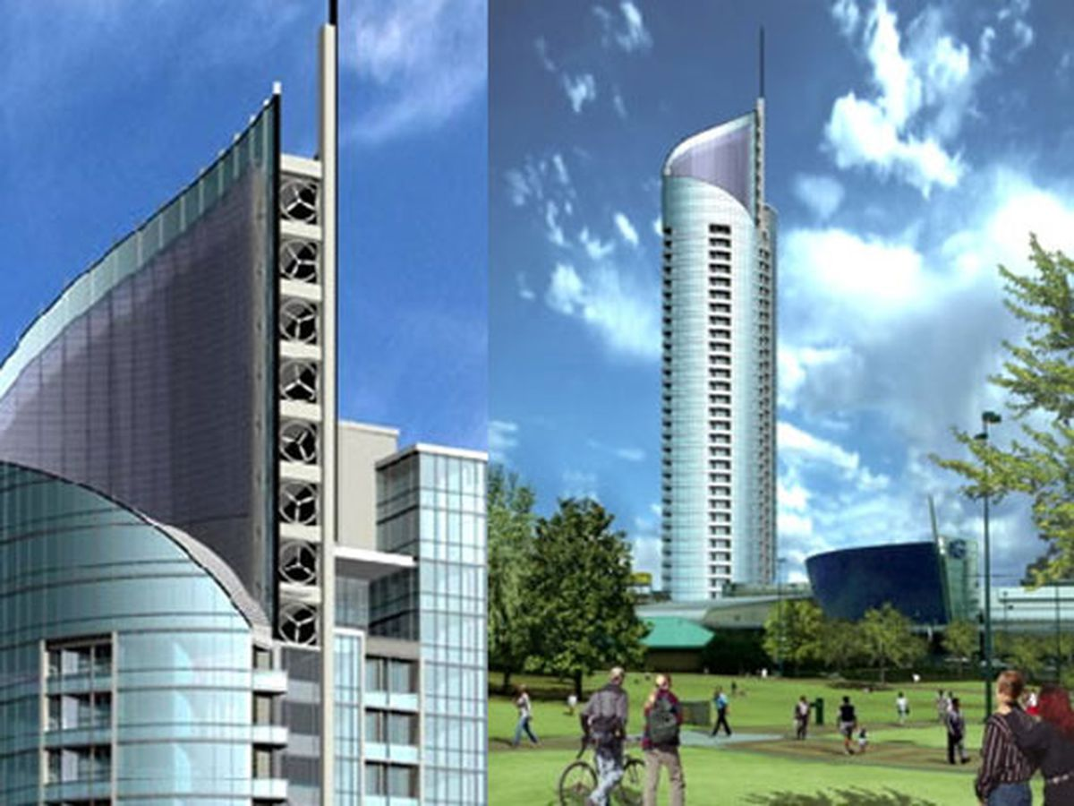 A tall skyscraper rendering. There is a park with trees and grass in front of the skyscraper.