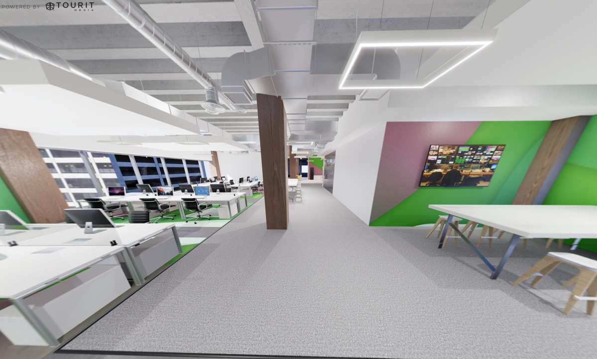 A rendering of the office space