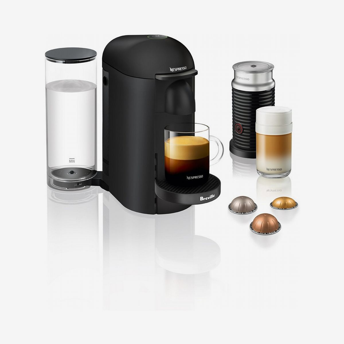 An espresso machine with capsules