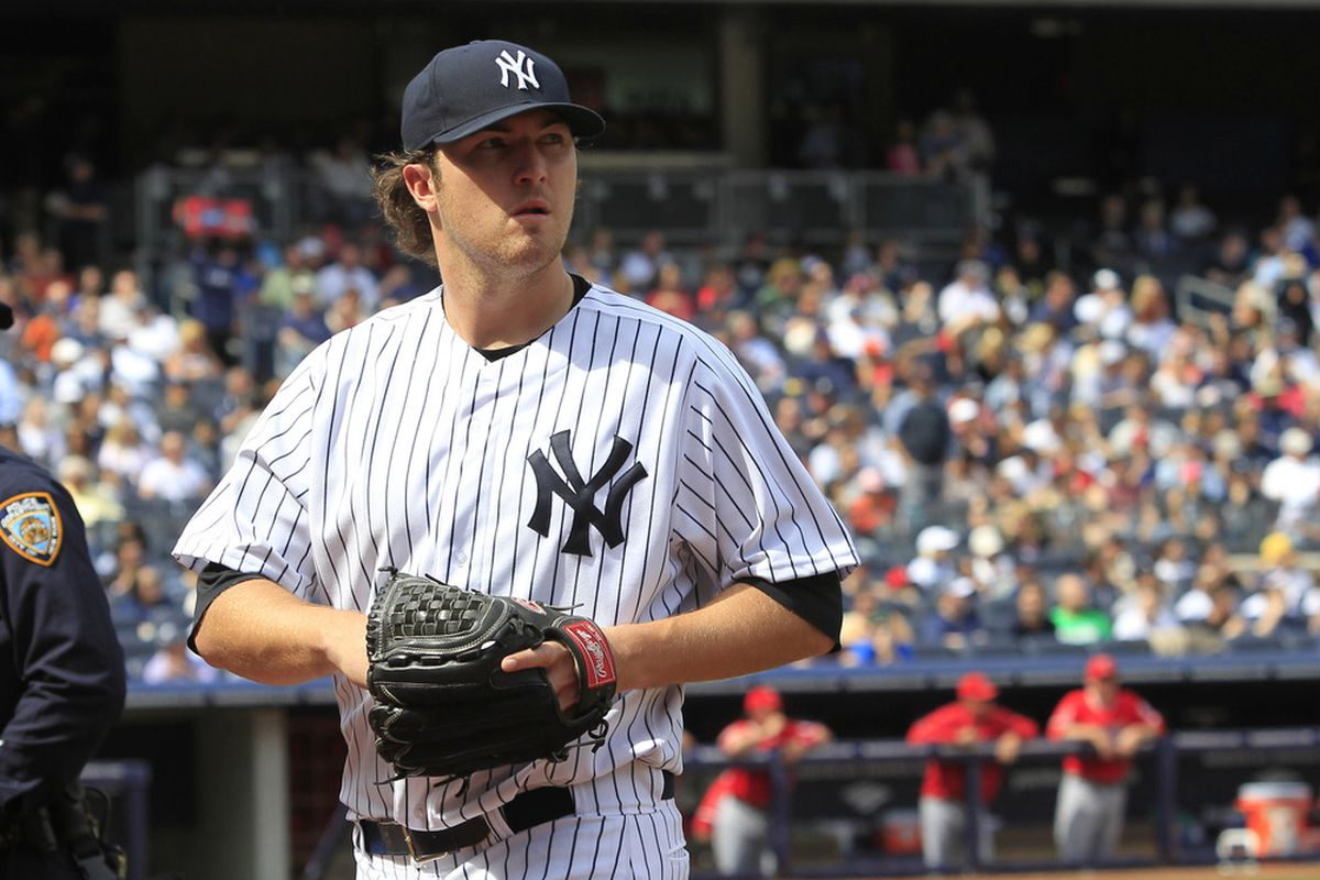 New York Yankees pitcher Phil Hughes during the game against the Los Angeles Angels at Yankee Stadium on Saturday. Tim Farrell/The Star-Ledger via US PRESSWIRE