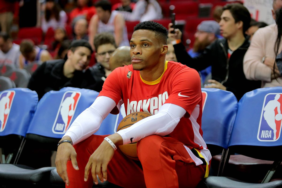 Houston Rockets guard Russell Westbrook prior to the game against the Philadelphia 76ers at Toyota Center.