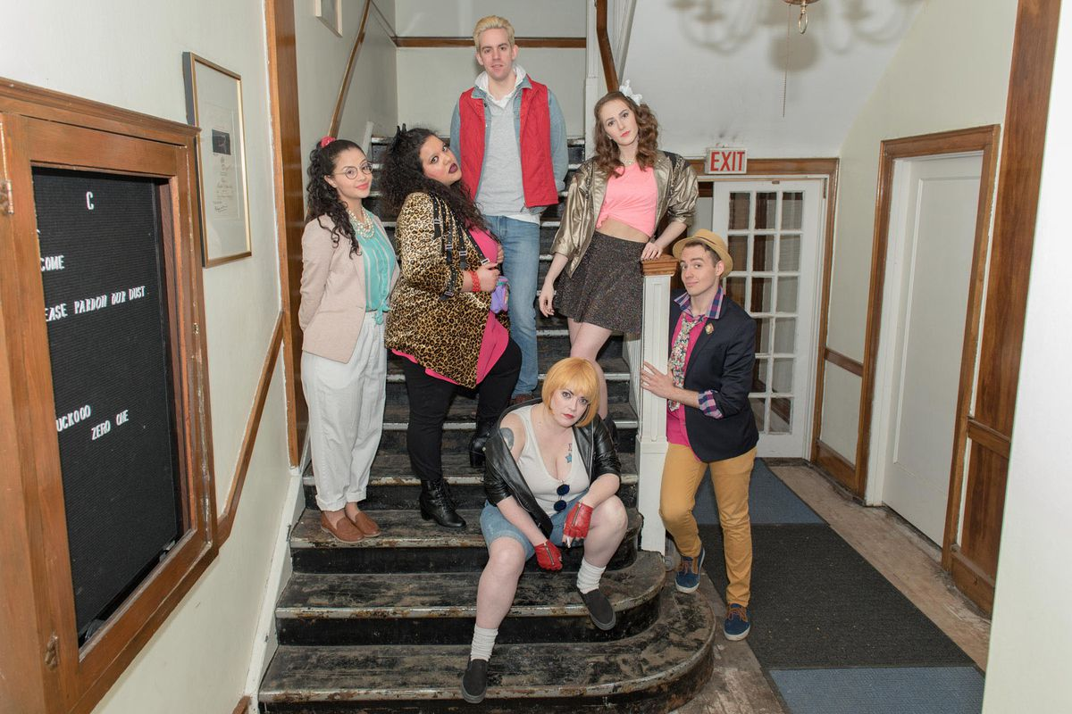 """Janyce Caraballo (from left), Brittney Brown, Josh Kemper, Caitlin Jackson, Charlie Irving and Will Kazda in a publicity image for New American Folk Theatre's Midwest premiere of """"Hot Pink, Or Ready to Blow."""" 