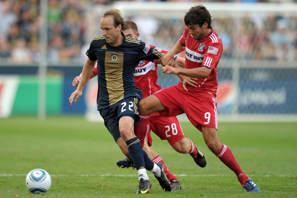 Union legend Justin Mapp dribbles past the entire Chicago Fire XI.