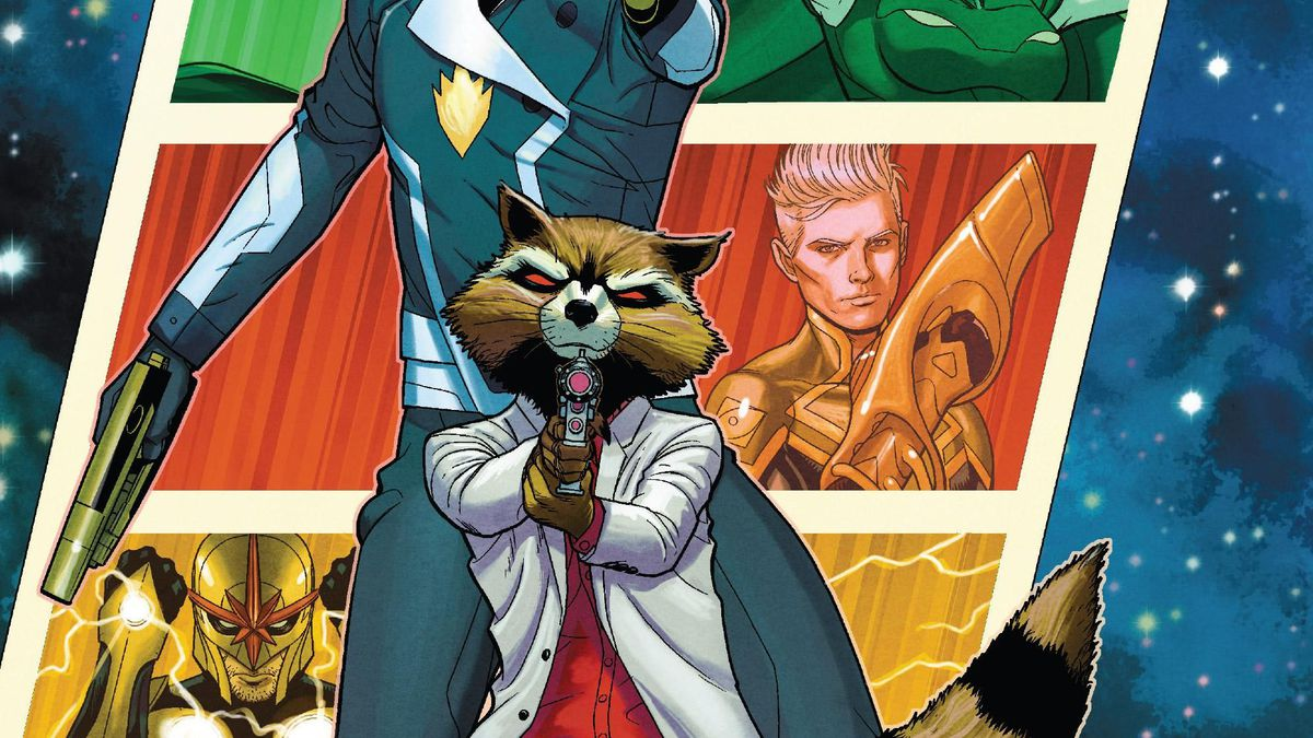 Rocket Raccoon, wearing a white suit with a red shirt, brandishes a lazer gun at the viewer, on the cover of Guardians of the Galaxy #1, Marvel Comics (2020).