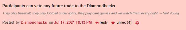 Participants can veto any future trade to the Diamondbacks (4 recs)