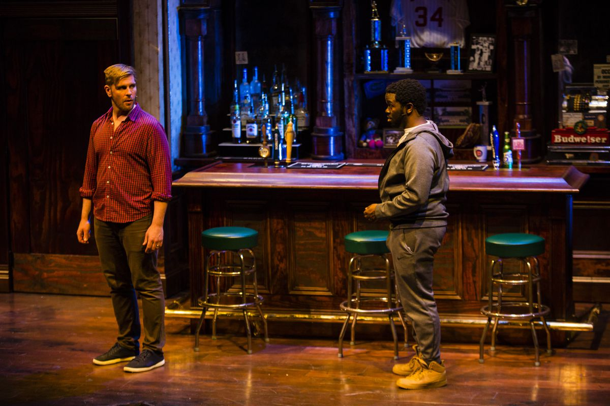 """Cast members Brandon Dahlquist and Jonathan Butler-Duplessis rehearse a scene from """"Miracle"""" at the Royal George Theatre, Wednesday, May 6, 2019."""