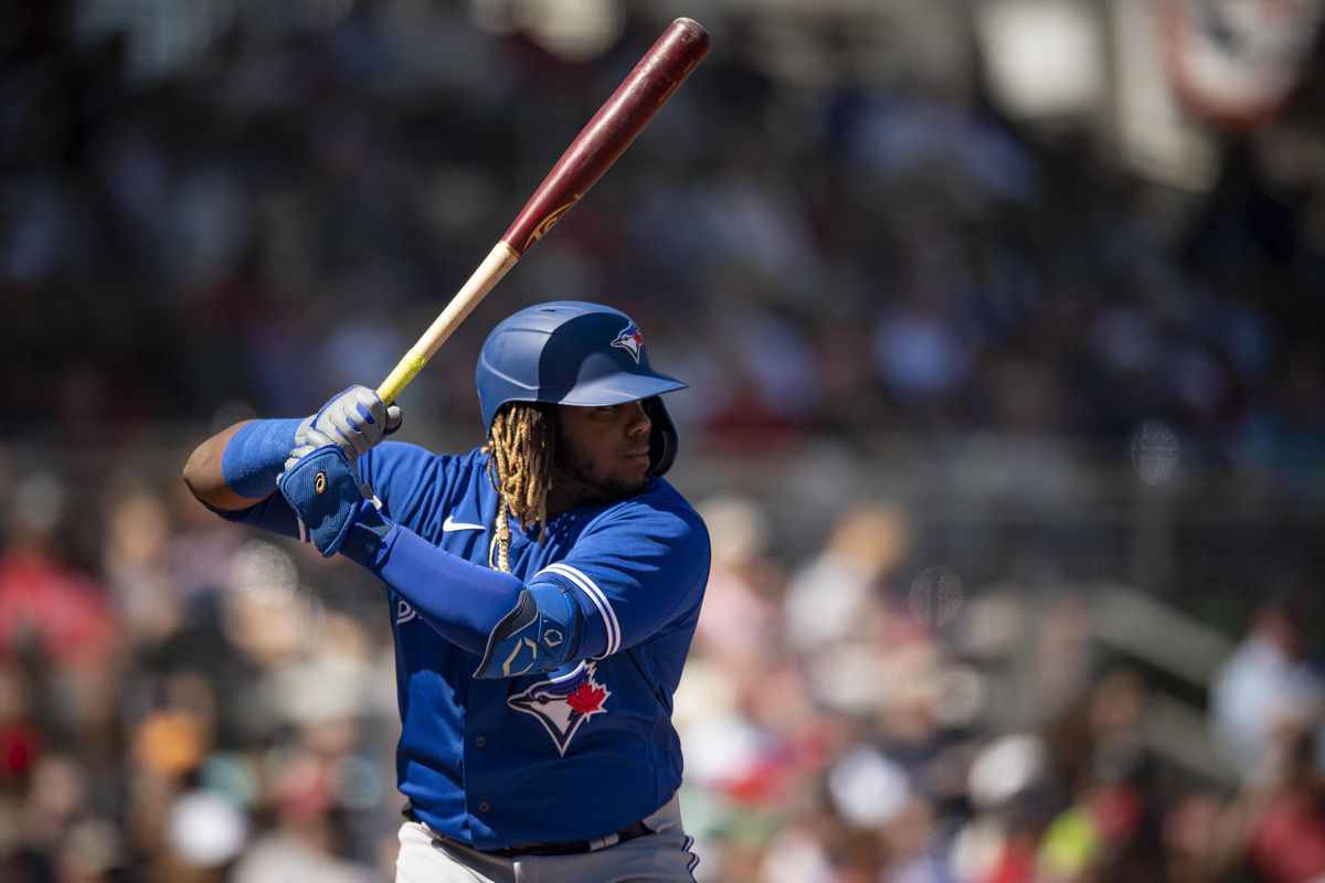 Vladimir Guerrero Jr. of theToronto Blue Jays bats during the first inning of a Grapefruit League game against the Boston Red Sox on March 7, 2020 at jetBlue Park at Fenway South in Fort Myers, Florida.
