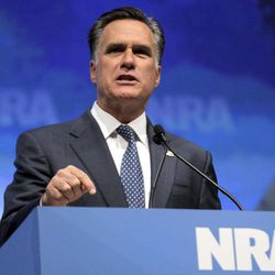 Republican presidential candidate, former Massachusetts Gov. Mitt Romney speaks at the National Rifle Association convention in St. Louis, Friday, April 13, 2012.