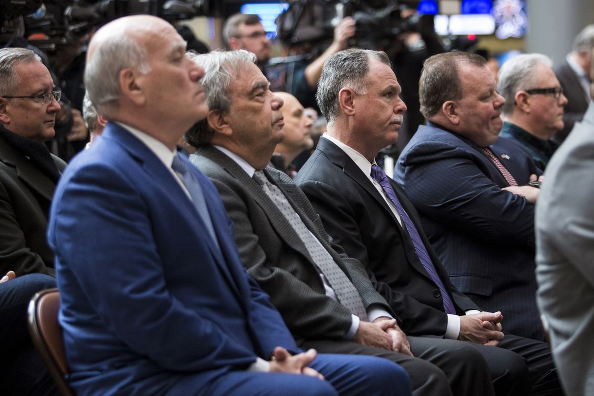 Ald. Patrick Daley Thompson, second from right, with, from left, uncles former U.S. Commerce Secretary Bill Daley and Cook County Commissioner John Daley as well as former Chicago Police Supt. Garry McCarthy.