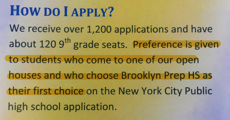 A Brooklyn Prep flyer passed out at last weekend's high school fair.