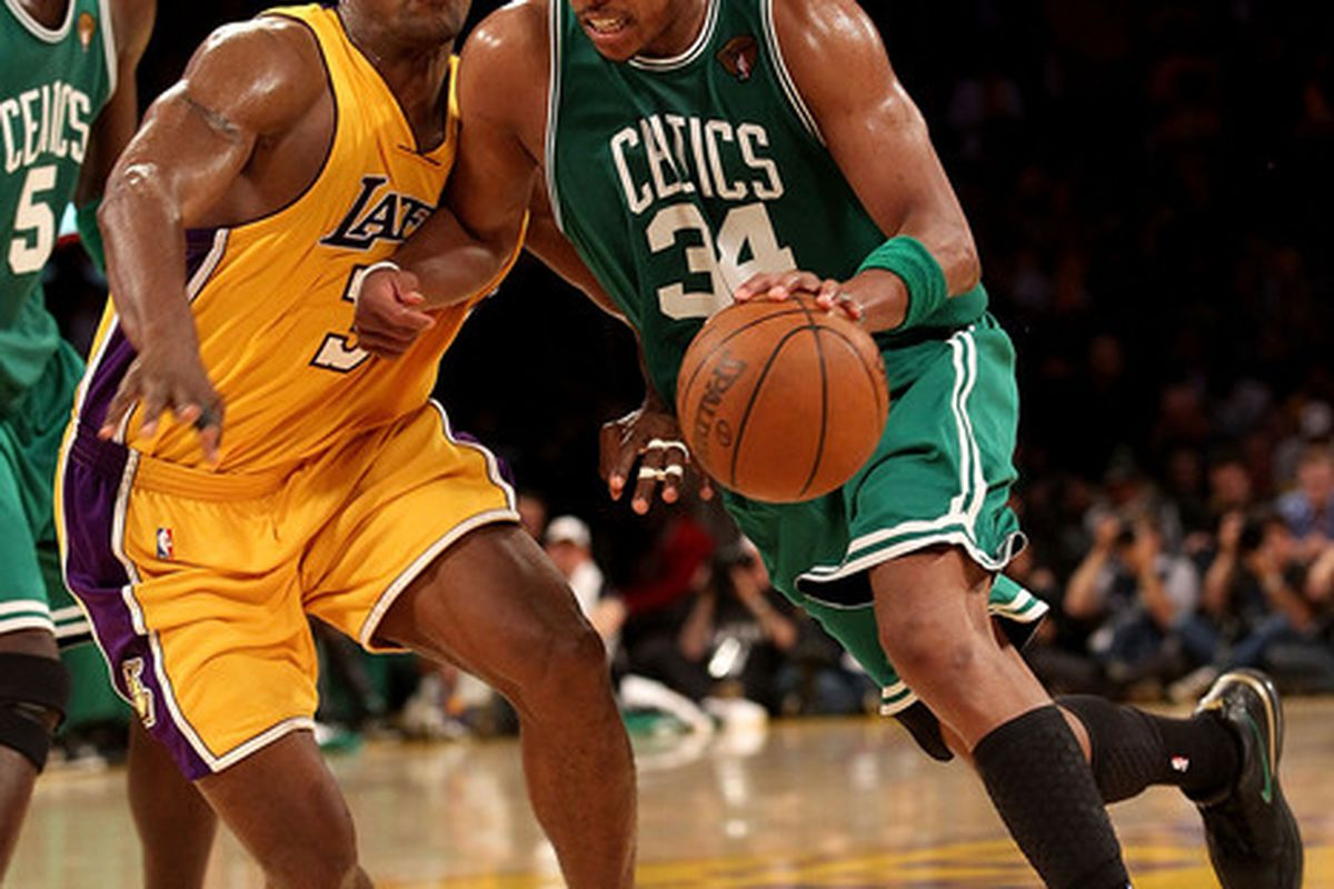 Ron Artest made his presence felt with Paul Pierce throughout Game 1 of the NBA Finals.