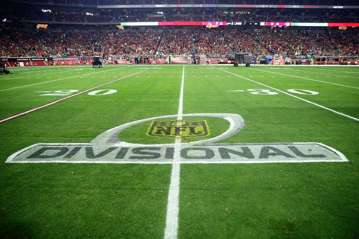 Detailed view of the NFL divisional round logo painted on the field during the Arizona Cardinals game against the Green Bay Packers during an NFC Divisional round playoff game at University of Phoenix Stadium.